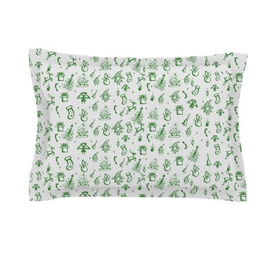 Miniature Christmas by Snap Studio Featherweight Pillow Sham Size: Queen, Color: Green/Gray, Fabric: Cotton