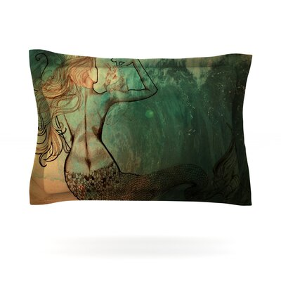 Poor Mermaid by Theresa Giolzetti Featherweight Pillow Sham Size: King, Fabric: Cotton