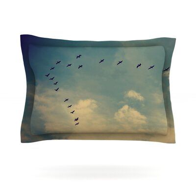 Pterodactyls by Robin Dickinson Featherweight Pillow Sham Size: Queen, Fabric: Cotton