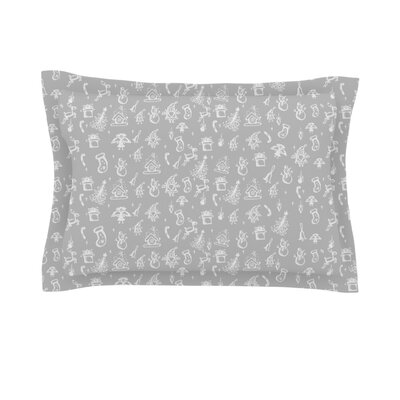 Miniature Christmas by Snap Studio Featherweight Pillow Sham Size: King, Color: Red/Grey, Fabric: Woven Polyester