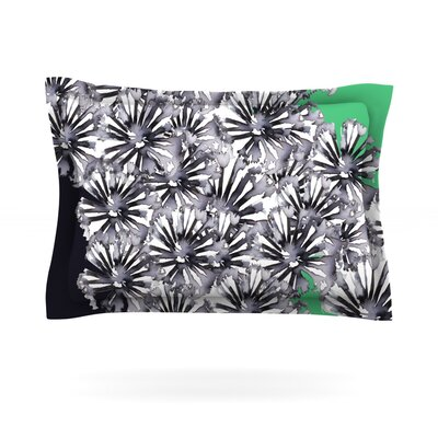 Flowers on Green by Sonal Nathwani Featherweight Pillow Sham Size: Queen, Fabric: Cotton