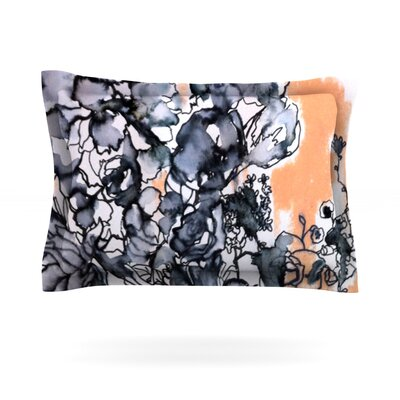 Inky Bouquet by Sonal Nathwani Featherweight Pillow Sham Size: King, Fabric: Cotton