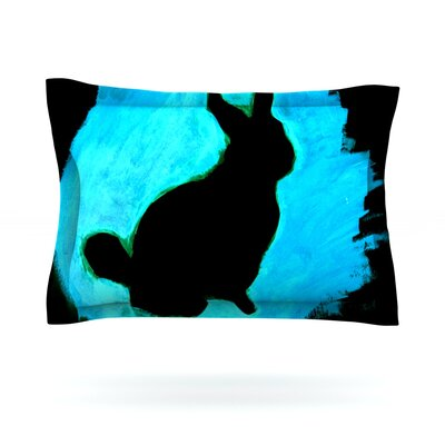 Blue Moon Bunny by Theresa Giolzetti Featherweight Pillow Sham Size: Queen, Fabric: Cotton