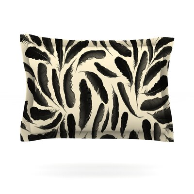 Feather Pattern by Skye Zambrana Featherweight Pillow Sham Size: Queen, Fabric: Cotton