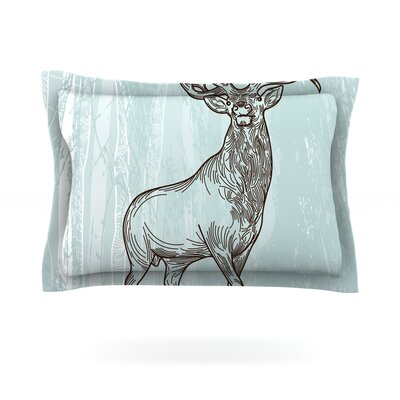 Elk Scene by Sam Posnick Featherweight Pillow Sham Size: Queen, Fabric: Cotton