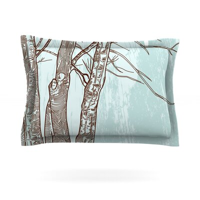 Winter Trees by Sam Posnick Featherweight Pillow Sham Size: King, Fabric: Cotton