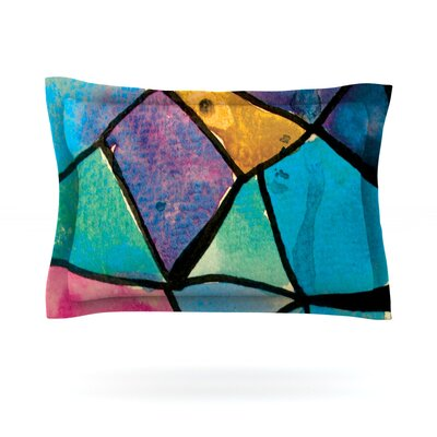 Stain Glass 2 by Theresa Giolzetti Featherweight Pillow Sham Size: King, Fabric: Cotton