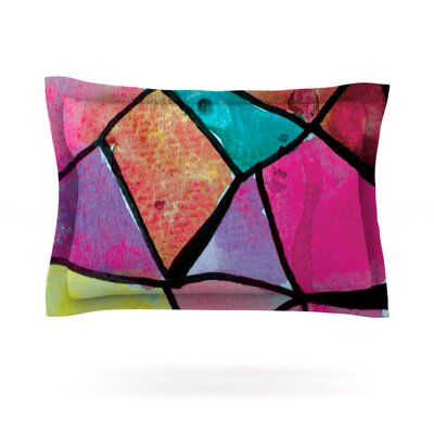 Stain Glass 3 by Theresa Giolzetti Featherweight Pillow Sham Size: Queen, Fabric: Cotton
