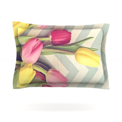 Tulips and Chevrons by Catherine McDonald Featherweight Pillow Sham Size: King, Fabric: Cotton