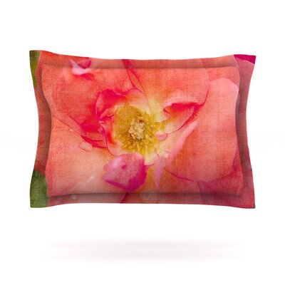Pink Rose by Catherine McDonald Featherweight Pillow Sham Size: King, Fabric: Cotton