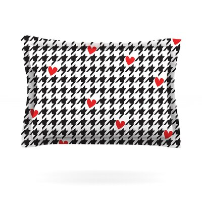 Spacey Houndstooth Heart by Empire Ruhl Featherweight Pillow Sham Size: Queen, Fabric: Cotton