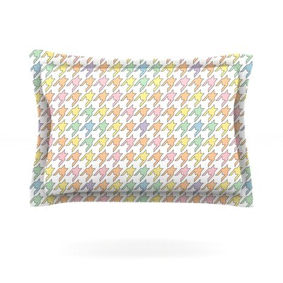 Pastel Houndstooth by Empire Ruhl Featherweight Pillow Sham Size: King, Fabric: Cotton