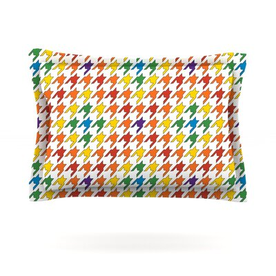 Rainbow Houndstooth by Empire Ruhl Featherweight Pillow Sham Size: King, Fabric: Cotton