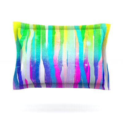 Jungle Stripes by Frederic Levy-Hadida Woven Pillow Sham Size: King, Color: Green