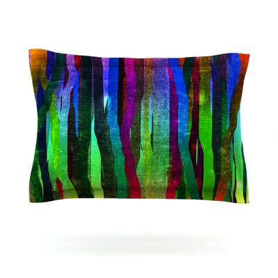 Jungle Stripes by Frederic Levy-Hadida Featherweight Pillow Sham Size: King, Color: Black, Fabric: Cotton