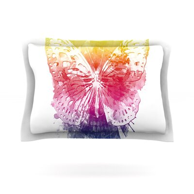 Butterfly Skull by Frederic Levy-Hadida Featherweight Pillow Sham Size: Queen, Fabric: Cotton