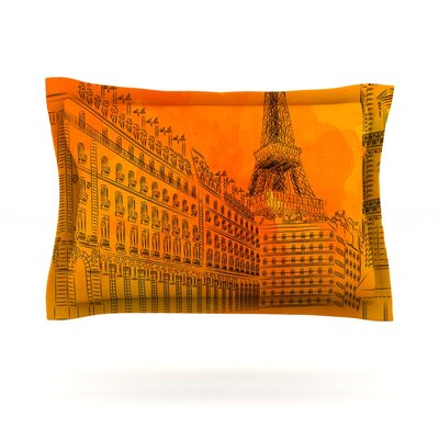Parisian Sunsets by Fotios Pavlopoulos Featherweight Pillow Sham Size: Queen, Fabric: Cotton