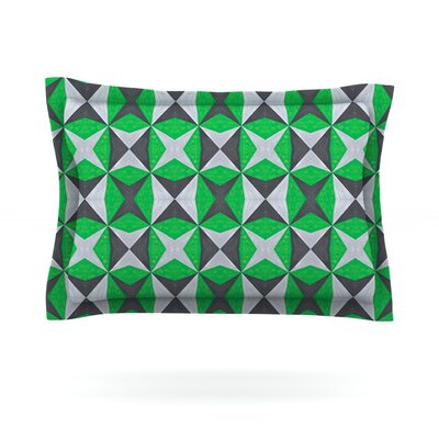 Silver and Green Abstract by Empire Ruhl Featherweight Pillow Sham Size: Queen, Fabric: Cotton