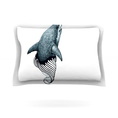 Shark Record by Graham Curran Featherweight Pillow Sham Size: Queen, Fabric: Cotton