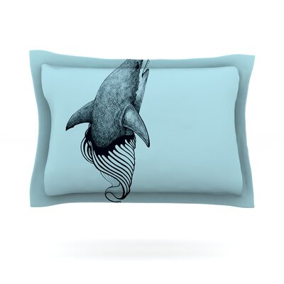 Shark Record II by Graham Curran Featherweight Pillow Sham Size: King, Fabric: Cotton