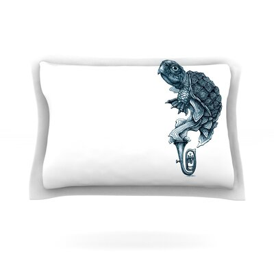 Turtle Tuba by Graham Curran Featherweight Pillow Sham Size: Queen, Fabric: Cotton