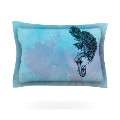 Turtle Tuba II by Graham Curran Featherweight Pillow Sham Size: Queen, Fabric: Cotton