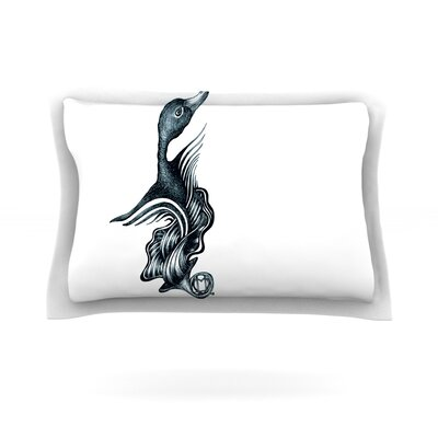 Swan Horns by Graham Curran Featherweight Pillow Sham Size: Queen, Fabric: Cotton