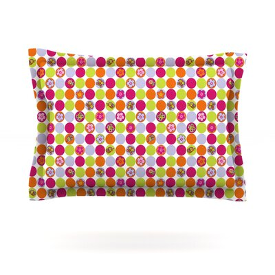 Happy Circles by Julia Grifol Featherweight Pillow Sham Size: Queen, Fabric: Cotton