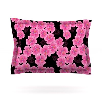 Pink on Black by Julia Grifol Featherweight Pillow Sham Size: Queen, Fabric: Cotton