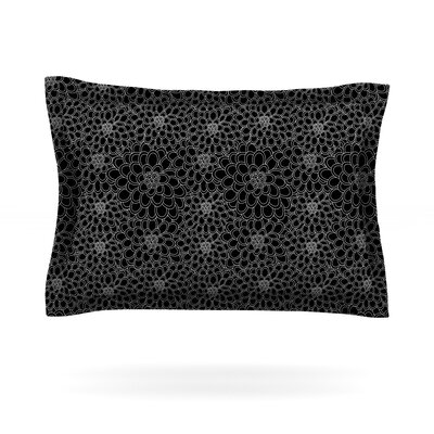 Black Flowers by Julia Grifol Featherweight Pillow Sham Size: Queen, Fabric: Cotton