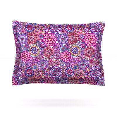 My Happy Flowers by Julia Grifol Featherweight Pillow Sham Size: Queen, Color: Red, Fabric: Cotton