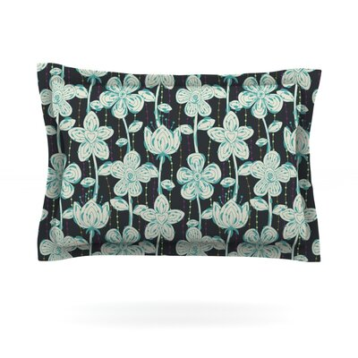 My Gray Spotted Flowers by Julia Grifol Featherweight Pillow Sham Size: Queen, Fabric: Cotton