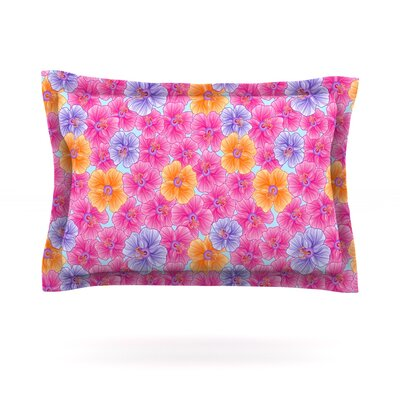 My Pink Garden by Julia Grifol Featherweight Pillow Sham Size: Queen, Fabric: Cotton