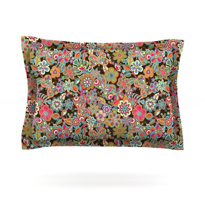 My Butterflies & Flowers by Julia Grifol Featherweight Pillow Sham Size: Queen, Color: Brown, Fabric: Cotton