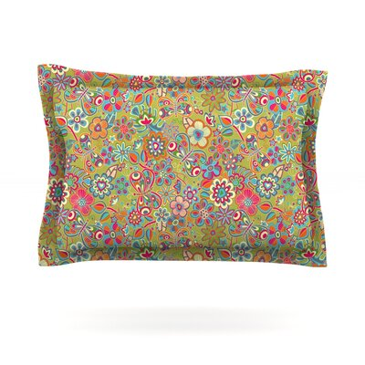 My Butterflies & Flowers by Julia Grifol Featherweight Pillow Sham Size: Queen, Color: Green, Fabric: Cotton