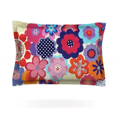 Patchwork Flowers by Louise Machado Featherweight Pillow Sham Size: Queen, Fabric: Cotton