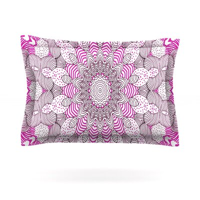Dots and Stripes by Monika Strigel Featherweight Pillow Sham Color: Pink, Size: King, Fabric: Cotton