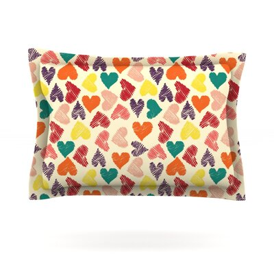 Little Hearts by Louise Machado Featherweight Pillow Sham Size: Queen, Fabric: Cotton