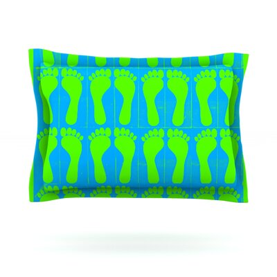 Footprints by Sreetama Ray Woven Pillow Sham Size: Queen, Color: Green/Blue