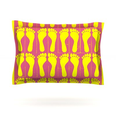 Footprints by Sreetama Ray Woven Pillow Sham Size: Queen, Color: Yellow/Pink