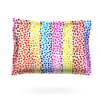 Rainbow Arrows by Sreetama Ray Featherweight Pillow Sham Size: Queen, Fabric: Cotton