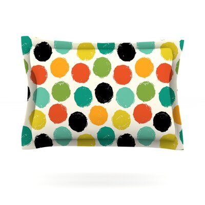 Retro Dots Repeat by Daisy Beatrice Featherweight Pillow Sham Size: Queen, Fabric: Cotton