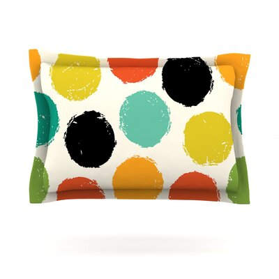 Retro Dots by Daisy Beatrice Featherweight Pillow Sham Size: Queen, Fabric: Cotton
