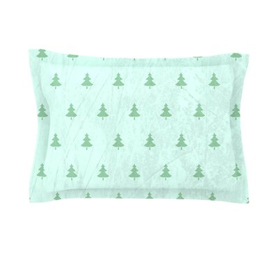 Pine by Snap Studio Woven Pillow Sham Color: Green/Teal, Size: King