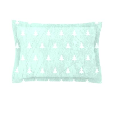 Pine by Snap Studio Woven Pillow Sham Size: King, Color: Aqua