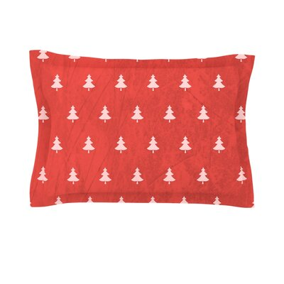 Pine by Snap Studio Woven Pillow Sham Size: King, Color: Red