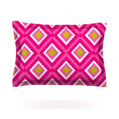 Moroccan Hot Pink Tile by Nicole Ketchum Featherweight Pillow Sham Size: Queen, Fabric: Cotton