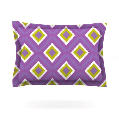 Purple Spash Tile by Nicole Ketchum Featherweight Pillow Sham Size: King, Fabric: Cotton