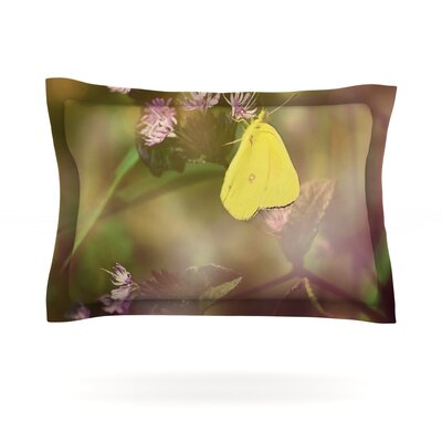 Butterfly Kisses by Robin Dickinson Featherweight Pillow Sham Size: King, Fabric: Cotton
