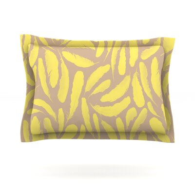 Yellow Feather by Skye Zambrana Featherweight Pillow Sham Size: Queen, Fabric: Cotton